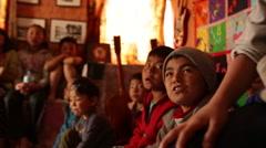Kathmandu Nepal children sing in music room at childrens home in Eastern Stock Footage
