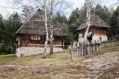 Traditional wooden house in west Serbia - stock photo