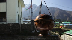 Lukla Nepal Incense pot hangs Solukhumbu near Mt Everest Stock Footage
