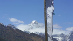 Nepal Prayer flag with the Himalayas in the background Solukhumbu Stock Footage