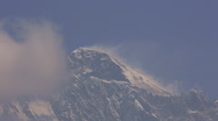 Nepal Himalayas Mountains  Mount Everest in the late morning, shot from the - stock footage