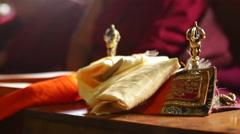 Nepal Himalayas  Buddhist prayer instruments at the Kharigandentenphelling Stock Footage