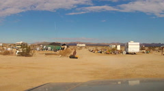 RV Campers At Slab City In California Desert- Niland CA Stock Footage
