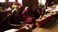 Nepal Himalayas  Buddhist nuns at the Kharigandentenphelling Monastery in the Stock Footage