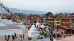 Kathmandu Nepal Boudhanath Stupa at the famous religious temple Stock Footage