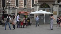Istanbul Turkey market food cart tourists 4K 030 Stock Footage