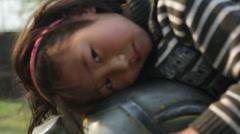 Kathmandu Nepal Nepali child posing for camera. Nayapati Eastern Kathmandu  1 Stock Footage