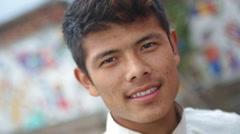 Kathmandu Nepal boy poses for camera at childrens home in Eastern Kathmandu, Stock Footage