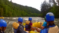 Whitewater rafting tour with tourists on the Ocoee River in Copperhill Tennessee Stock Footage