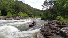 Woman whitewater canoe or kayak on the Ocoee River in Ducktown, Tennessee USA Stock Footage