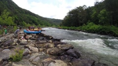 Whitewater rafting tours on the Ocoee River in Ducktown, Tennessee USA Stock Footage