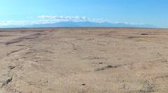 Salton Sea Dry Lake Bed Mud Flats Wide- Niland CA - stock footage