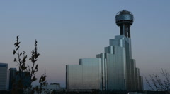 Dallas Texas convention center skyline at sunset twilight night exposure in Stock Footage