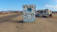 Stock Video Footage of Slab City Entrance With RV Camper- Niland California