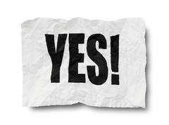 Yes sign on creased paper - stock photo
