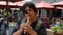Flute player from Bolivia playing music in park restaurant in San Diego Arkistovideo