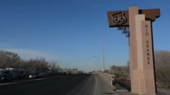 Albuguergue New Mexico famous Route 66 on Rio Grande River signage on bridge in Stock Footage