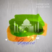 Vector watercolor illustration of  indian Taj Mahal on the old w Stock Illustration