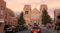 Santa Fe New Mexico St Francis Cathedral famous church at night color - stock footage