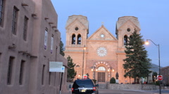 Santa Fe New Mexico St Francis Cathedral famous church at night color Stock Footage