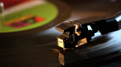 Close-Up Of Record Playing On Vintage Record Player Stock Footage