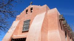 Santa Fe New Mexico First Presbyterian Church with blue sky the oldest Stock Footage