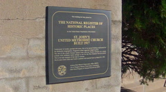 National Register Of Historic Places Plaque On Building Stock Footage