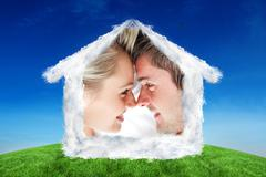 Composite image of close up of smiling couple looking at each other Stock Illustration