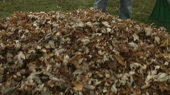 Teenager pauses to smile during yard work 4K Stock Footage