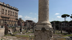 Stock Video Footage of Rome Italy Colonna Traiana historic column tilt up 4K 079