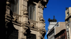 Building facade covered by shadows. Madrid. Spain Stock Footage
