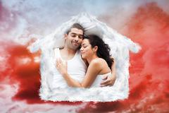Composite image of beautiful couple lying on a bed - stock illustration