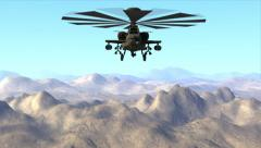 Apache Helicopter Flying Pass Above Mountains (CGI) - stock footage