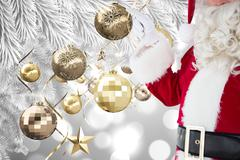 Composite image of mid section of santa pointing - stock photo