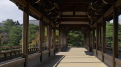 Bridge in Garden at Heian Shrine in Kyoto, Japan Stock Footage