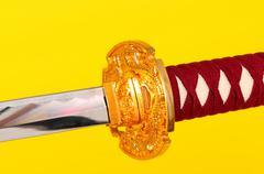 macro samurai sword - stock photo