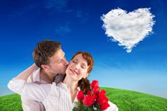 Stock Illustration of Composite image of woman getting roses from man