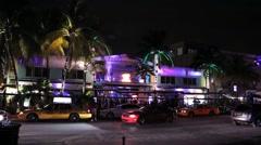 Ocean Drive Bar Night Timelapse Stock Footage