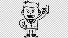 man with raised hand cartoon illustration hand drawn animation transparent - stock footage