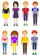 Faceless teenagers Stock Illustration