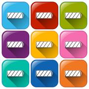Buttons with fully charged batteries - stock illustration