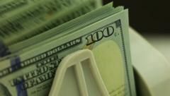 Stock Video Footage of money counters and 100-usd banknotes