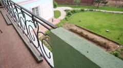 View from balcony of two storey cottage under construction - stock footage