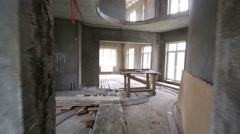 Many rooms without finishing and with wires on floor Stock Footage