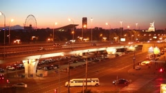 Night urban landscape with overpass in Moscow, Russia Stock Footage