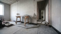 Room with concrete walls without finishing and building materials Stock Footage