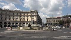 Rome Italy Fontana della Naiadi fountain hotels 4K 076 Stock Footage