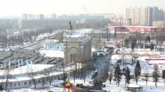 Aerial view of main entrance arch of VVC at winter day Stock Footage