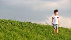Little cute boy and girl in white t-shirts play on green meadow Stock Footage