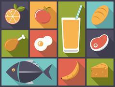 everyday food icons vector illustration. - stock illustration